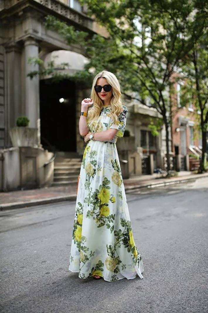 maxi dress with floral print inspiration street style fashion outfit summer autumn9