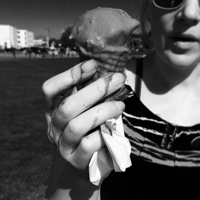 Josh took this very artistic shot of my Rocky Road dripping all down my arm.