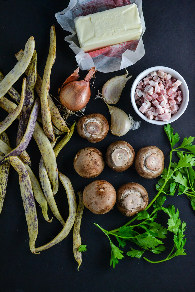 Dragon Tongue Beans with Pancetta and Mushrooms   Things I Made Today