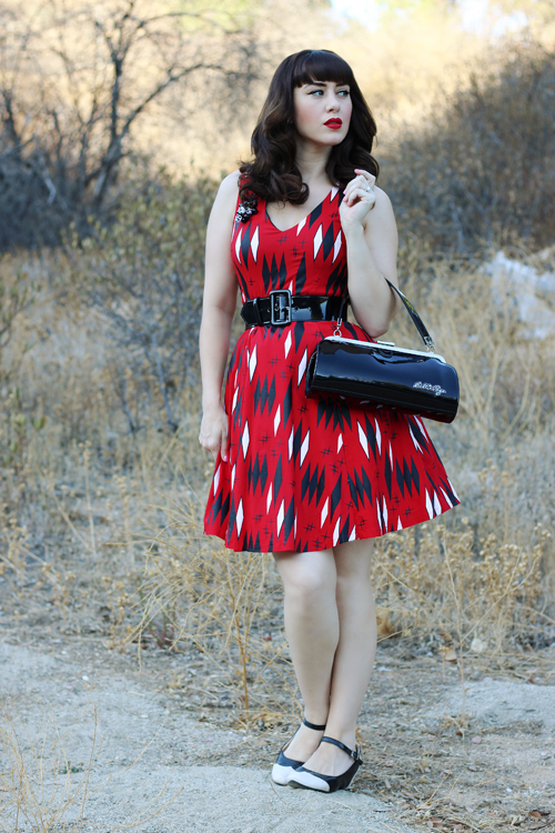 Sourpuss Clothing Retro Diamonds Dress in Red