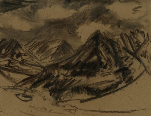 Alaska: mountains drawn with found charcoal stubs
