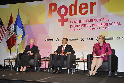 "UN Women Executive Director Michelle Bachelet joins US Secretary of State Hillary Rodham Clinton and Peruvian President Ollanta Humala Tasso at the event ""Power: Women as Drivers of Growth and Social Inclusion,"" in Lima, Peru 