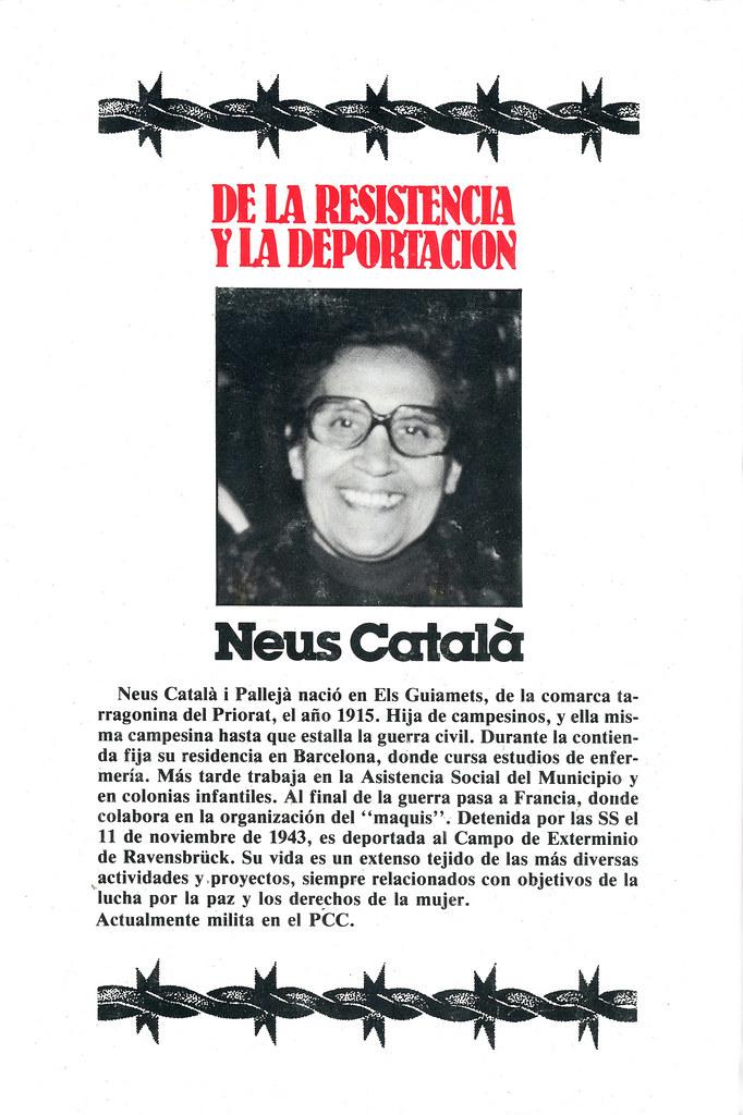 CATALÀ I PALLEJÀ, Neus. De la resistencia y la deportación. 50 testimonios de mujeres españolas / prólogo de M. Fernández Nieto.1a ed.Barcelona: ADGENA ,1984.