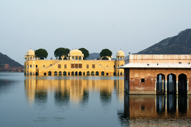 Palace sunk in the lake, Jal Mahal, Jaipur, Rajasthan, India