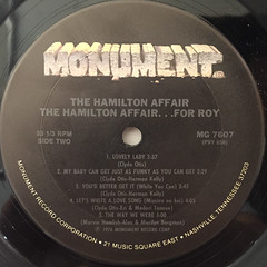 THE HAMILTON AFFAIR:FOR ROY(LABEL SIDE-B)
