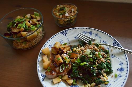 Seared Pork Chops & Plum Salsa with Corn, Kale & Farro Salad