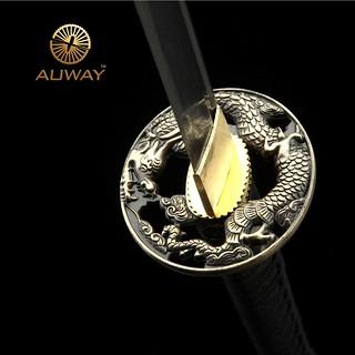 Auway-samurai-sword-Dragon-Tsuba-Black-scabbard-5