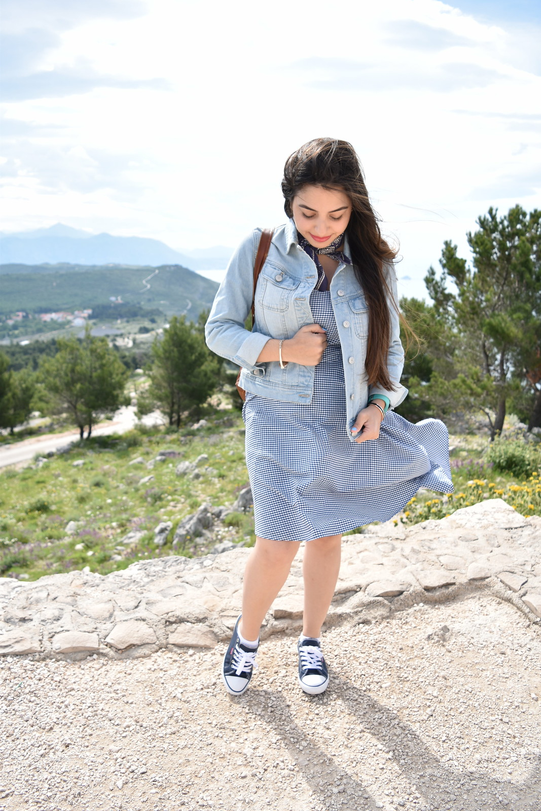 Urban Outfitters denim jacket // Levis shoes // Old Navy gingham dress // Target backpack