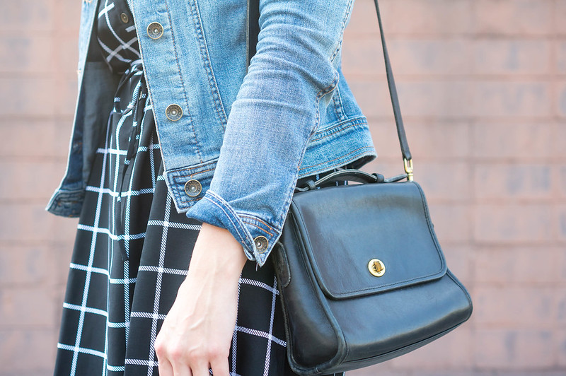 grid print black and white dress + jean jacket + black coach purse; casual fall outfit | Style On Target blog