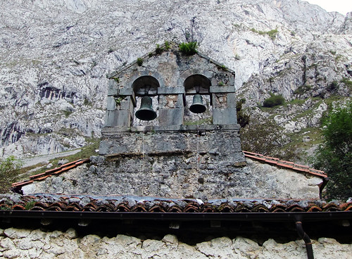 Bells in the church in the village of Bulnes in the Picos de Europa of Northern Spain