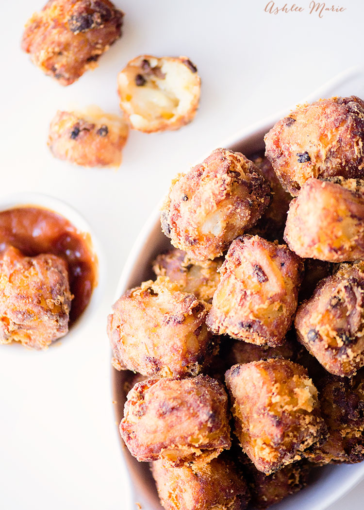 everyone loves tater tots, right? and making your own is super simple and a great way to personalize, like adding bacon and cheddar for a full flavored tot!