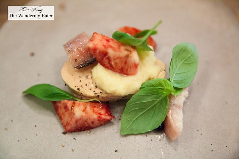 Eel, foie gras, mushroom
