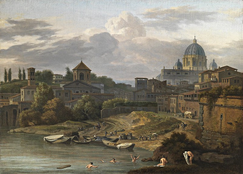 Isaac de Moucheron - Bathers in the Tiber with Saint Peter in the background