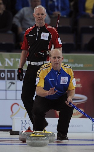 Edmonton Ab.Mar8,2013.Tim Hortons Brier.Alberta skip Kevin Martin,Ontario skip Glenn Howard.CCA/michael burns photo | by seasonofchampions