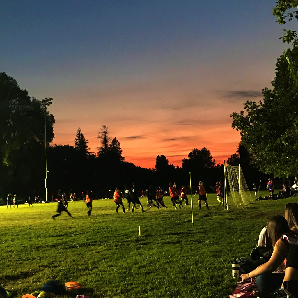 Sunset over soccer practice