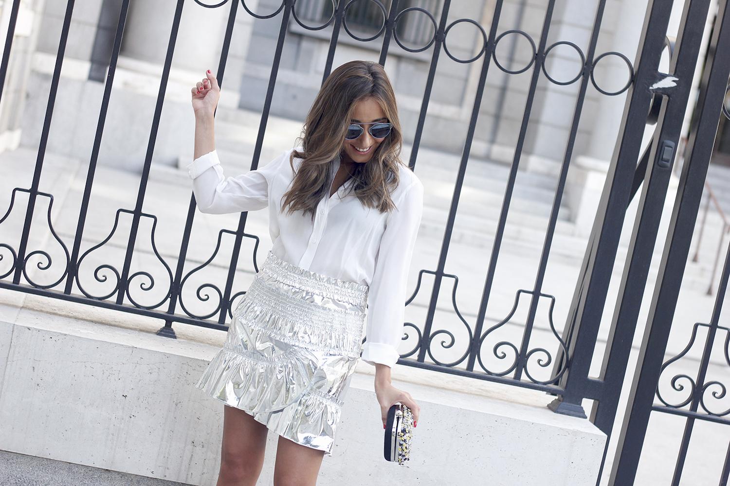 Isabel Marant Metallic Skirt white shirt nude sandals dior so real sunnies outfit style fashion19