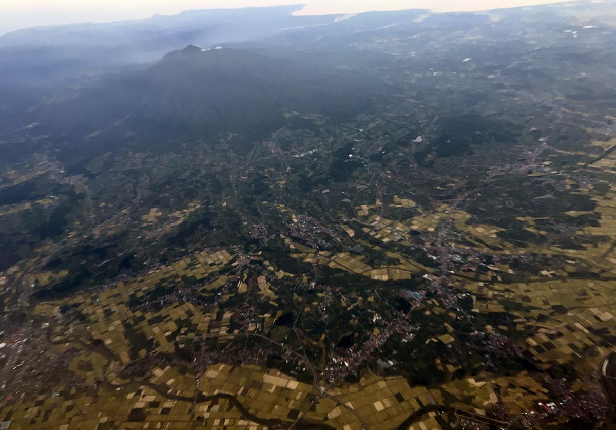 空から見える岩木山