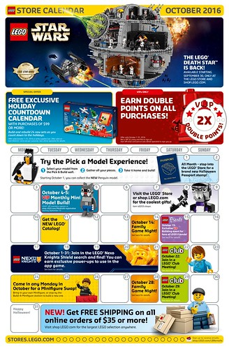 LEGO October 2016 Store Calendar