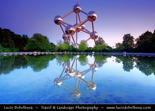 Belgium - Brussels - Atomium - Expo '58 Monument at Dusk - Blue Hour - Twilight | by © Lucie Debelkova / www.luciedebelkova.com
