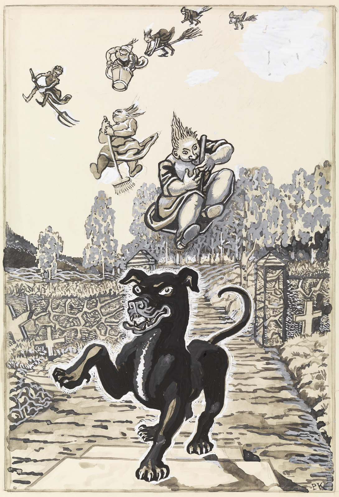 "Per Krohg - "" And in front of them walked a big black dog - ""Illustration for "" Grave 's stories "" , P. Chr. Asbjørnsen and J. Moe, total adventure , 1936"