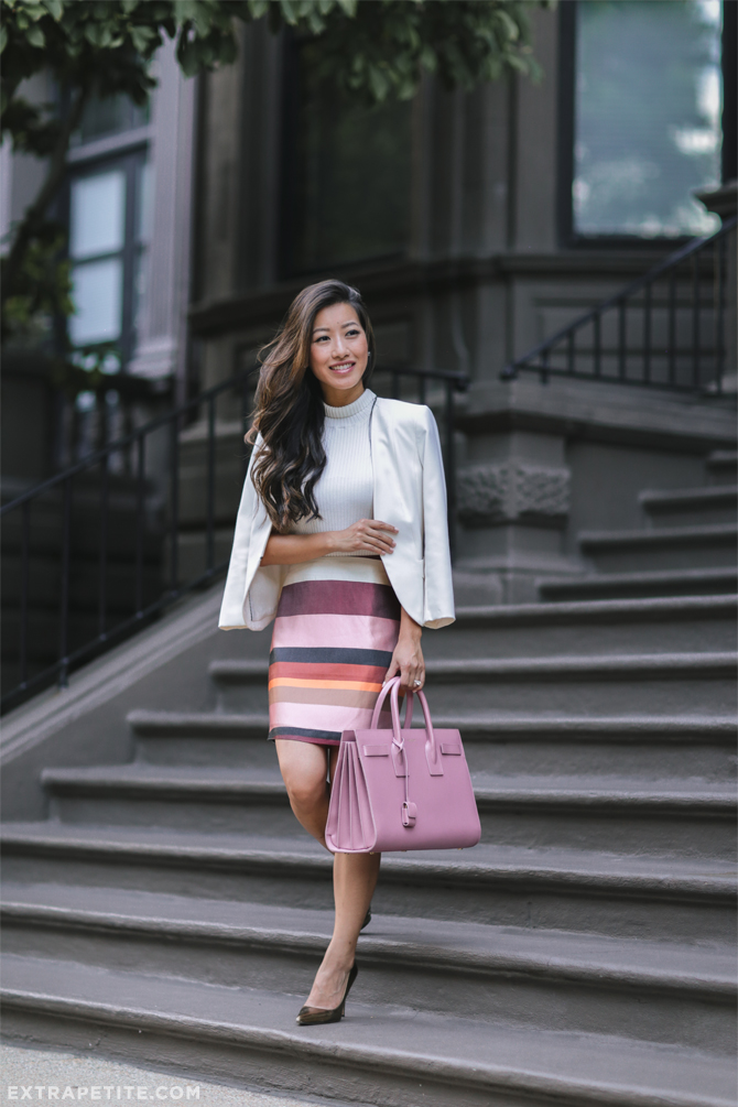 fall work outfit stripe skirt white blazer YSL sac de jour