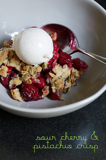 sour cherry and pistachio crisp | by awhiskandaspoon