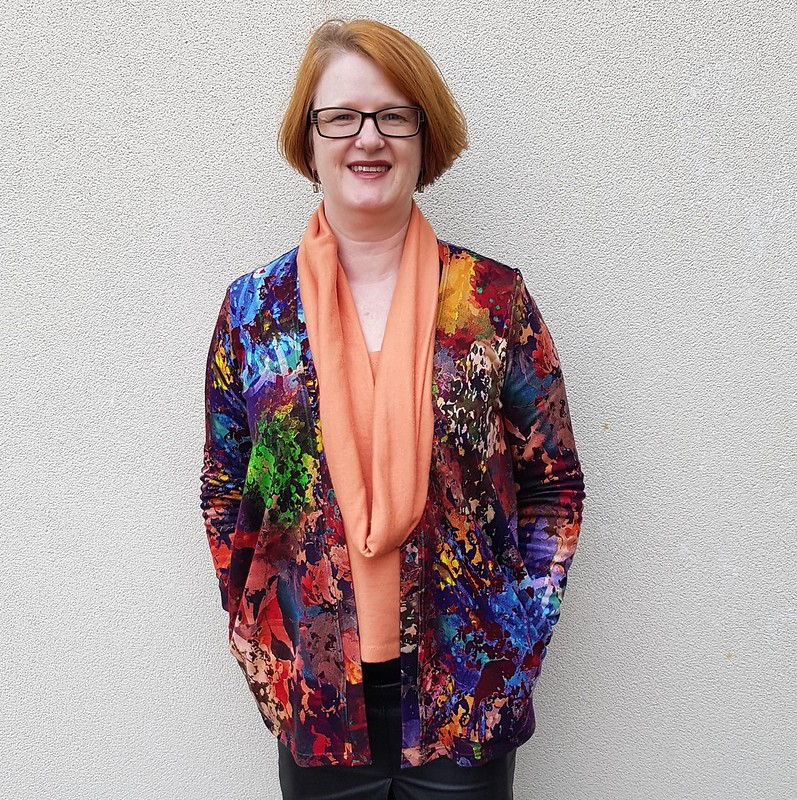 Style Arc Simone cardigan in printed ponte from Rathdowne Fabrics