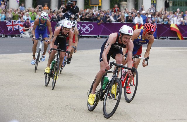 Triathlon route through central London