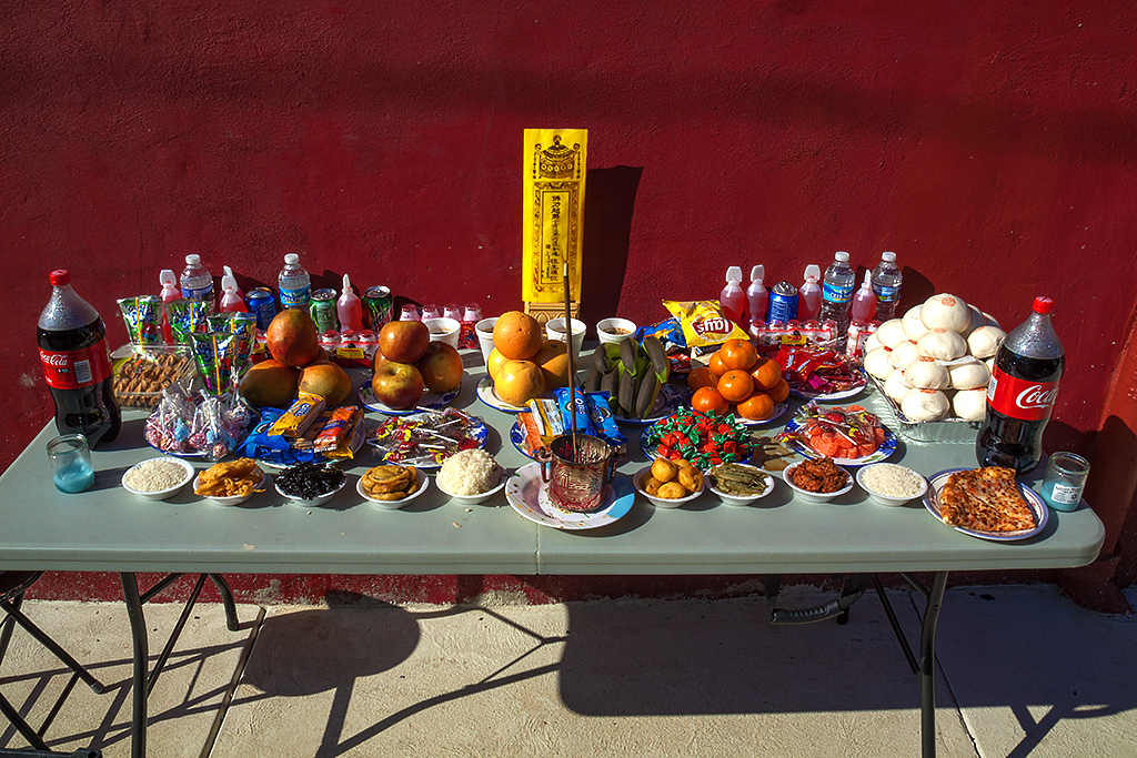 Offerings outside Chinese Buddhist temple--South Philadelphia
