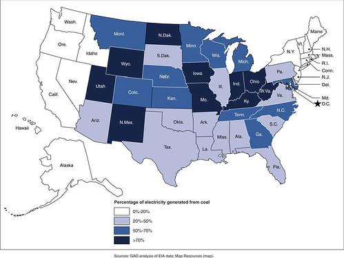 Figure 1: Percentage of Electricity Generated from Coal by State, 2010 | by U.S. GAO