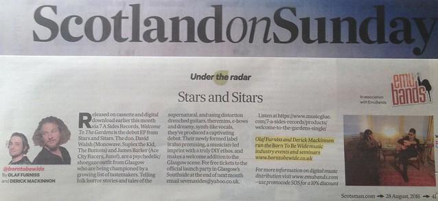 Scotland On Sunday, 28 August 2016, Stars And Sitars