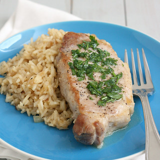 Skillet Pork Chops and Rice with Parsley Butter | by Tracey's Culinary Adventures