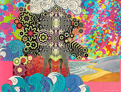 LARRY CARLSON, Zebra Zhores, collage on paper, 12x10in., 2012. | by LARRY  CARLSON