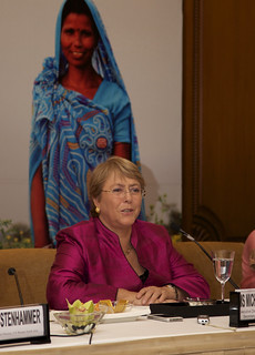 UN Women Executive Director Michelle Bachelet briefs members of the press in new New Delhi on her first official visit to India as head of the agency | by UN Women Gallery
