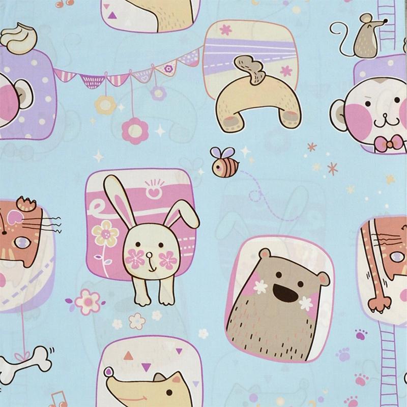 卡通动物方块 精梳棉床品床单布料 ca490335