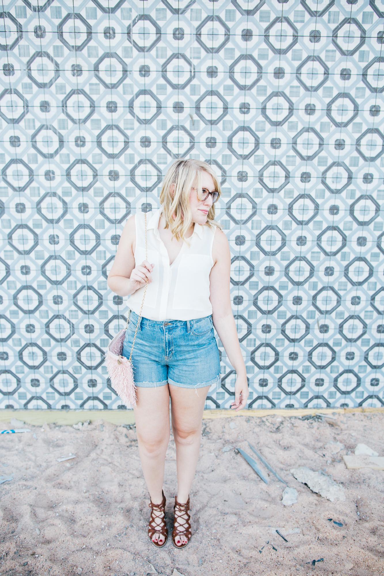 theory blouse denim shorts1