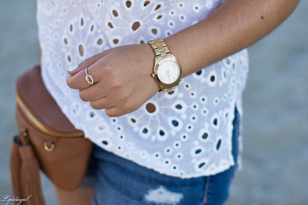white eyelet lace blouse, denim shorts, waist bag-4.jpg