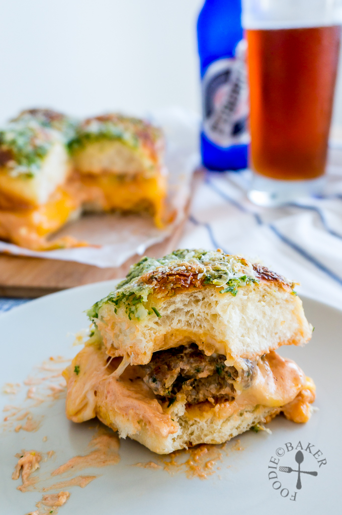 Cheesy & Garlicky Meatball Sliders