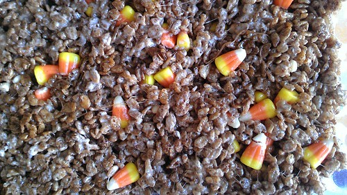 Cocoa Krispies Treats with Candy Corn | by cakespy