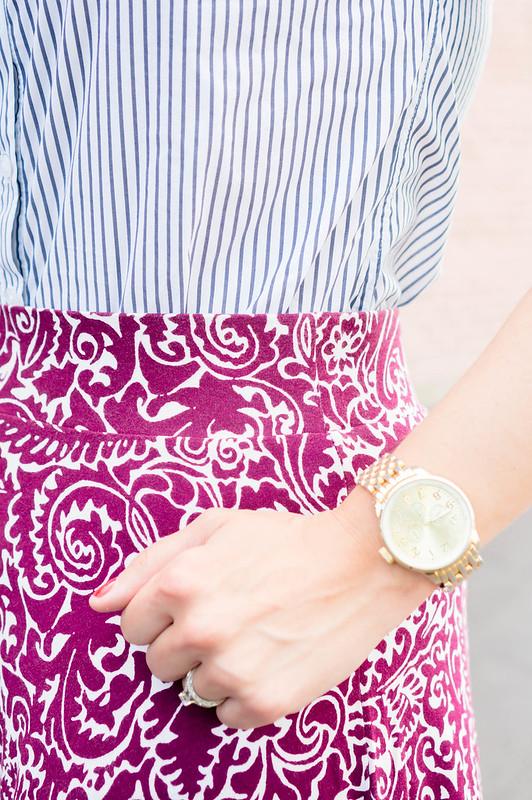 stripe button down shirt + paisley Loft skirt + gold watch + maroon crossbody purse + nude Target wedges | Style On Target blog