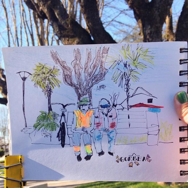 Estuvimos en #Gorbea y quedó en nuestro ❤️ #recorridoxlaaraucania #araucania #ixregion #drawingtothepeople #urbansketchers #uskchile #urbansketcherschile#art #illustration #drawing #draw  #picture #artist #sketch #sketchbook #paper #pen #pencil #art