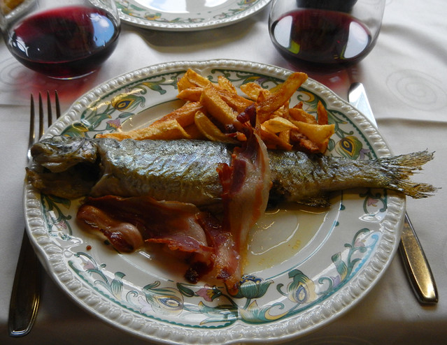 The trout & bacon from the 'Menu del dia' in Pido, Spain
