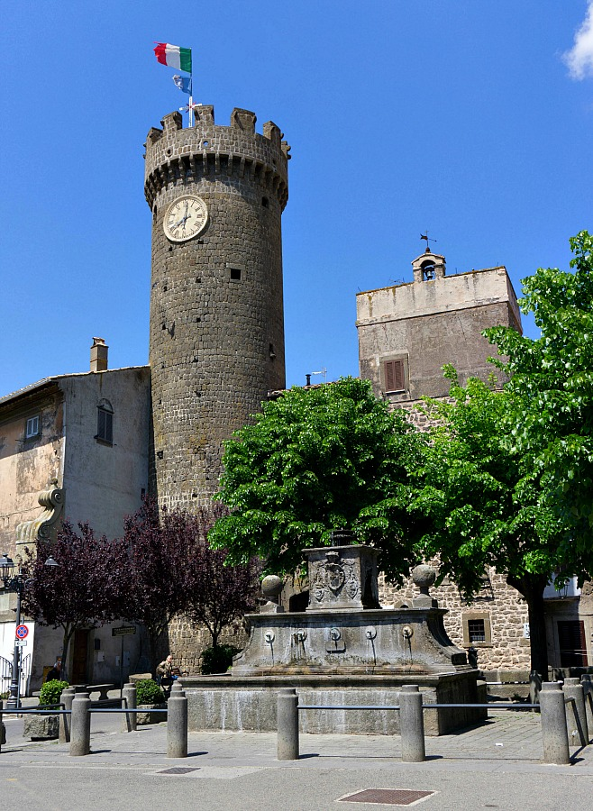 Clock Tower in Bagnaia Italy's Town Center