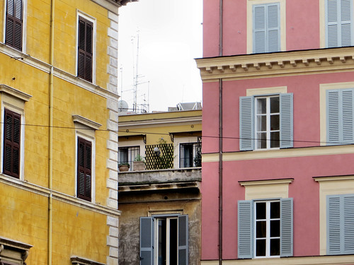 Rome pink yellow buildings