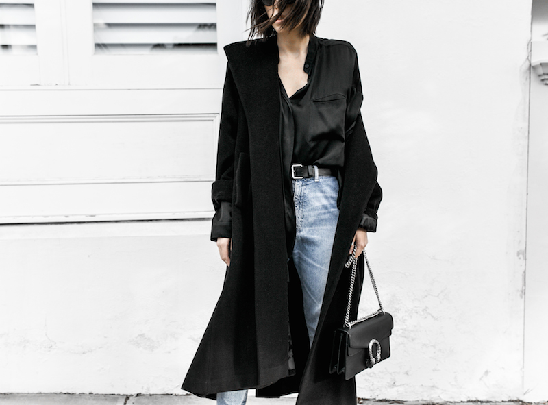 denim street style inspo fashion blogger minimal black outfit modern legacy bassike farfetch block heel loafer Gucci Dionysus bag (6 of 8)-2