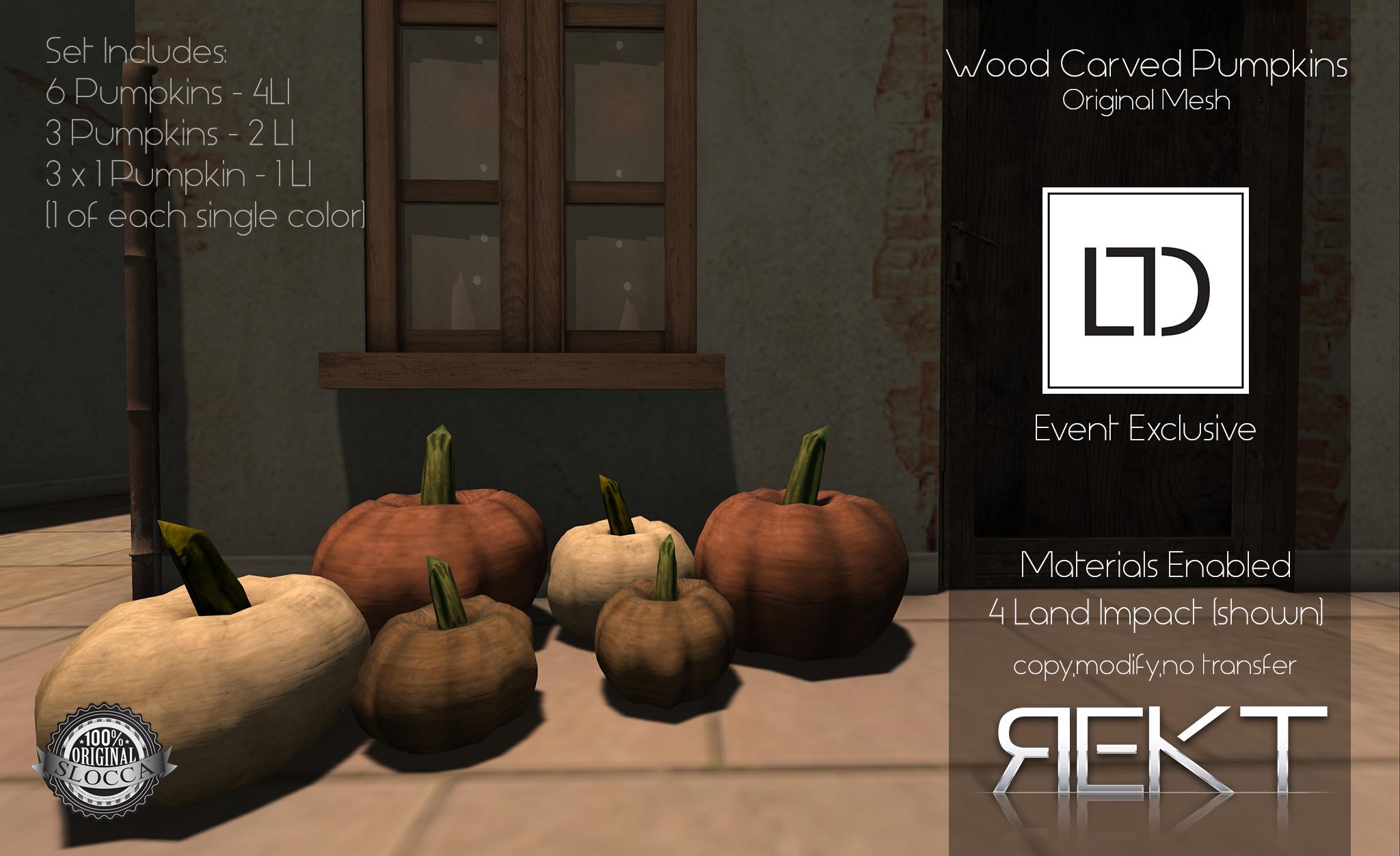 Rekt Wood Carrved Pumpkins