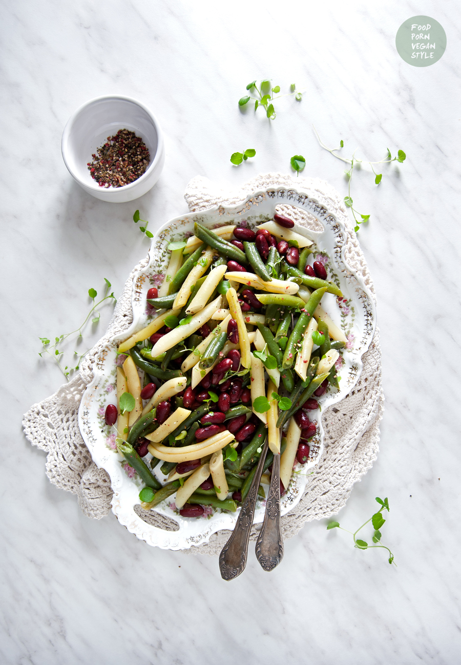Vegan 3 bean salad with refreshing lemon dressing