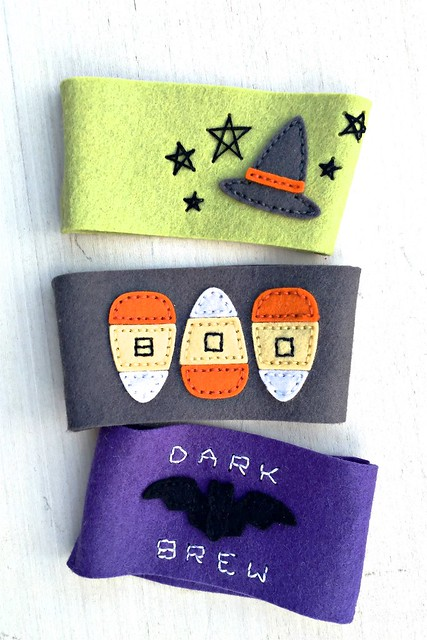 Halloween Coffee Cozy Die Embellished with 2016 Halloween Stitching Dies by Papertrey Ink