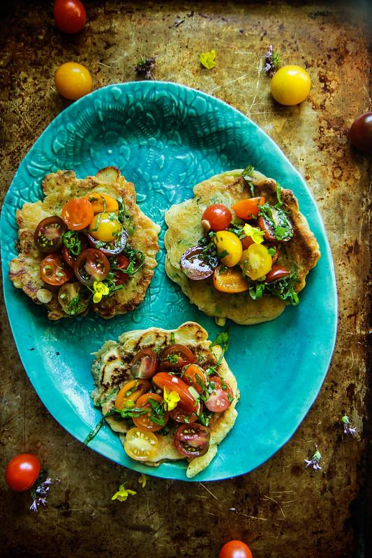 Savory Zucchini Basil Pancakes with Bruschetta Topping -vegan and gluten free. from HeatherChristo.com