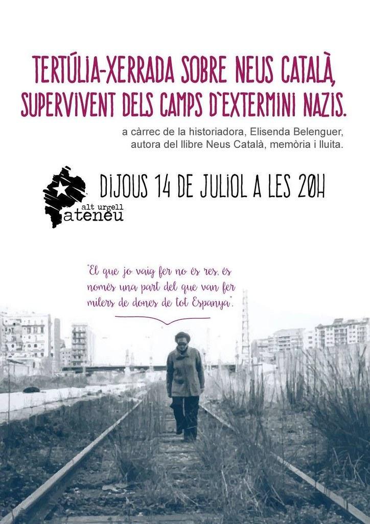 Cartell de la Tertúlia-xerrada sobre Neus Català, supervivent dels camps d'extermini nazis (Alt Urgell, 2016)